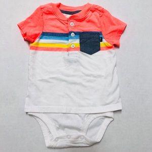 5/$25 OshKosh baby striped onesie + pocket 12 M